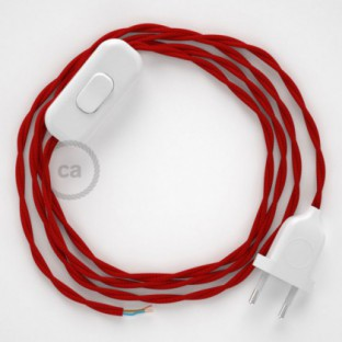 Lamp wiring, TM09 Red Rayon 1,80 m. Choose the colour of the switch and plug.