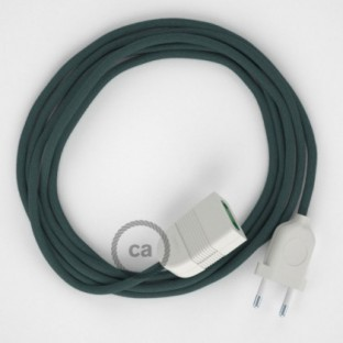 Stone Grey Cotton fabric RC30 2P 10A Extension cable Made in Italy