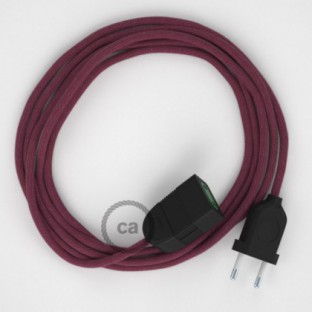 Burgundy Cotton fabric RC32 2P 10A Extension cable Made in Italy