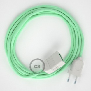 Milk and Mint Cotton fabric RC34 2P 10A Extension cable Made in Italy