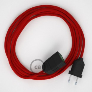 Fire Red Cotton fabric RC35 2P 10A Extension cable Made in Italy
