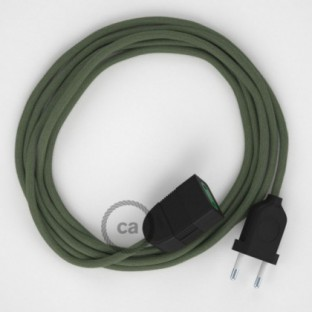 Green Grey Cotton fabric RC63 2P 10A Extension cable Made in Italy