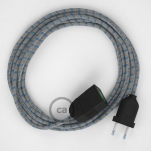 Blue Steward Stripes Cotton and Natural Linen fabric RD55 2P 10A Extension cable Made in Italy