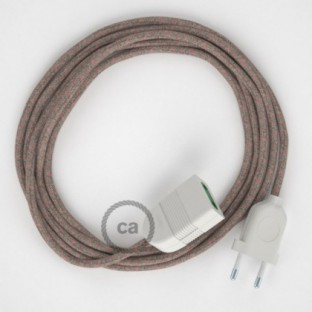 Ancient Pink Diamond Cotton and Natural Linen fabric RD61 2P 10A Extension cable Made in Italy