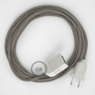 Thyme Green Diamond Cotton and Natural Linen fabric RD62 2P 10A Extension cable Made in Italy