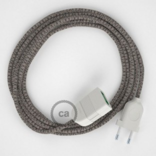 Anthracite Diamond Cotton and Natural Linen fabric RD64 2P 10A Extension cable Made in Italy