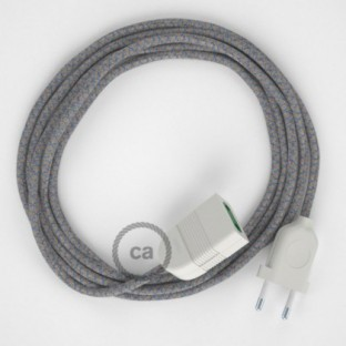Blue Steward Diamond Cotton and Natural Linen fabric RD65 2P 10A Extension cable Made in Italy