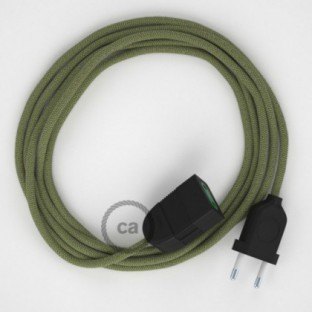 Thyme Green Stripes Cotton and Natural Linen fabric RD72 2P 10A Extension cable Made in Italy