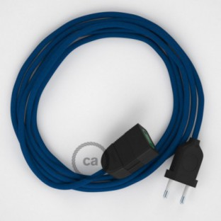 Blue Rayon fabric RM12 2P 10A Extension cable Made in Italy