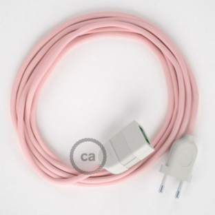 Baby Pink Rayon fabric RM16 2P 10A Extension cable Made in Italy