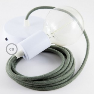 Single Pendant, suspended lamp with Grey Green Cotton textile cable RC63
