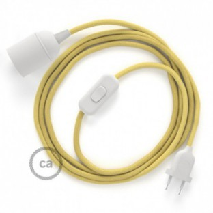 SnakeBis wiring with lamp holder and fabric cable - Pale Yellow Cotton RC10