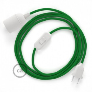 SnakeBis wiring with lamp holder and fabric cable - Green Rayon RM06