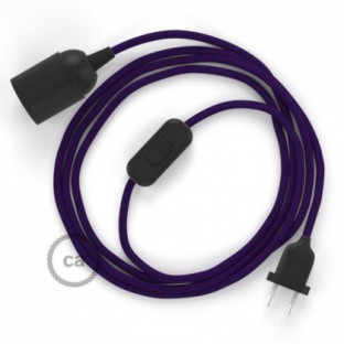 SnakeBis wiring with lamp holder and fabric cable - Violet Rayon RM14