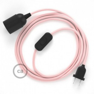 SnakeBis wiring with lamp holder and fabric cable - Baby Pink Rayon RM16