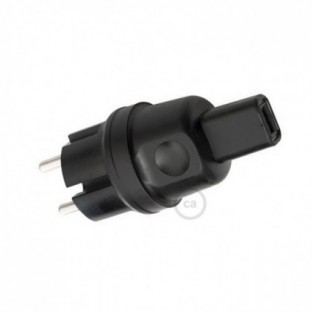 Black French-German Plug for String Lights