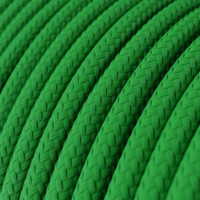 Round Electric Cable covered by Rayon solid colour fabric RM06 Green