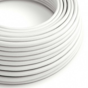 Round Electric Cable covered by Rayon solid colour fabric RM01 White