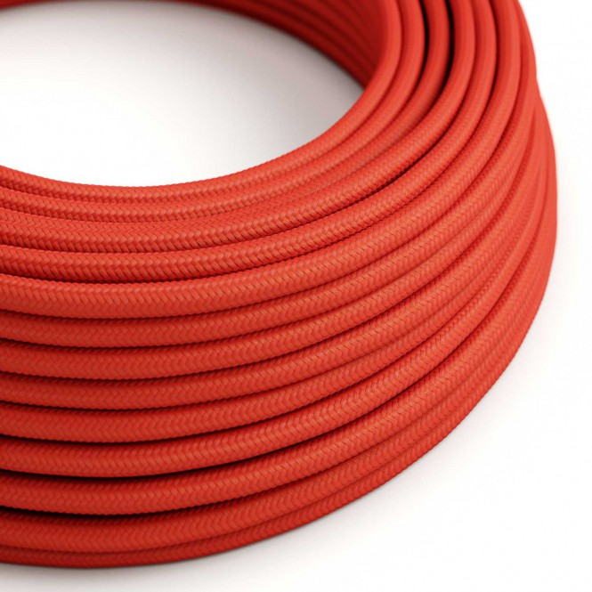 Round Electric Cable covered by Rayon solid colour fabric RM09 Red