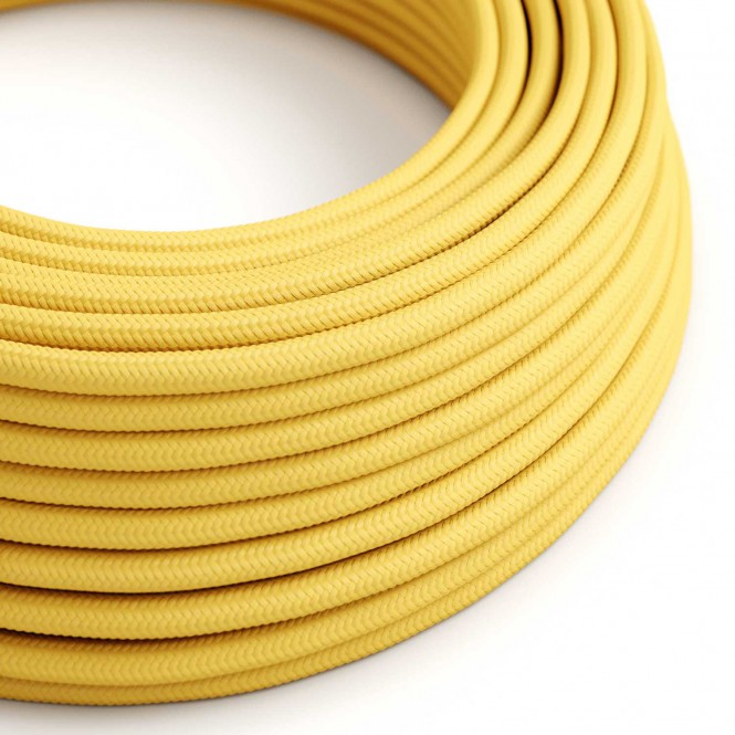 Round Electric Cable covered by Rayon solid colour fabric RM10 Yellow