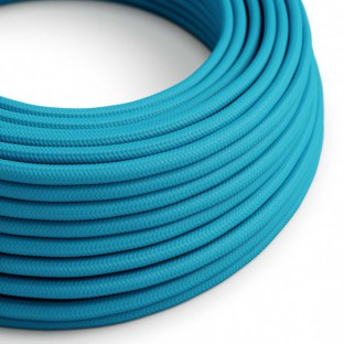 Round Electric Cable covered by Rayon solid colour fabric RM11 Turquoise