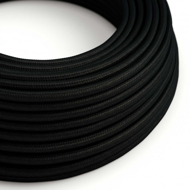 Round Electric Cable covered by Rayon solid colour fabric RM04 Black