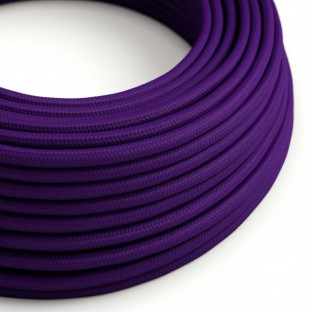 Round Electric Cable covered by Rayon solid colour fabric RM14 Violet