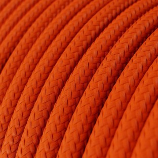 Round Electric Cable covered by Rayon solid colour fabric RM15 Orange