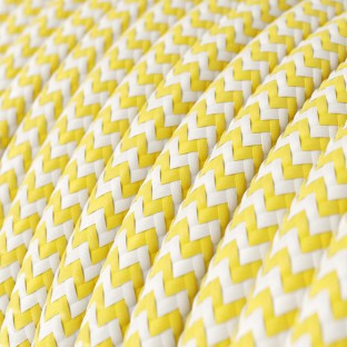 Round Electric Cable covered by Rayon fabric Zig Zag RZ10 Yellow