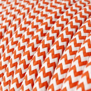 Round Electric Cable covered by Rayon fabric Zig Zag RZ15 Orange