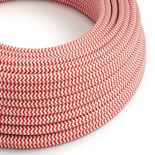 Round Electric Cable covered by Rayon fabric Zig Zag RZ09 Red