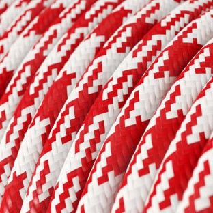 Round Electric Cable covered by Rayon fabric RP09 Red and White