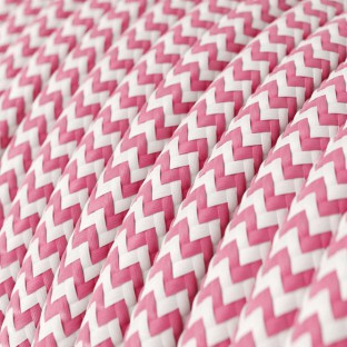 Round Electric Cable covered by Rayon fabric Zig Zag RZ08 Fuchsia