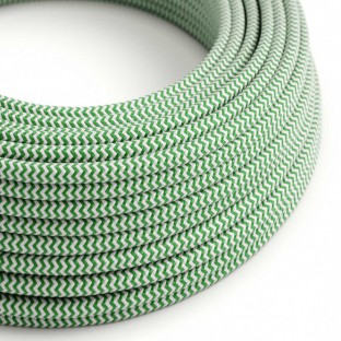 Round Electric Cable covered by Rayon fabric Zig Zag RZ06 Green