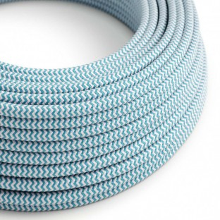 Round Electric Cable covered by Rayon fabric ZigZag RZ11 Turquoise