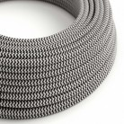 Round Electric Cable covered by Rayon fabric ZigZag RZ04 Black