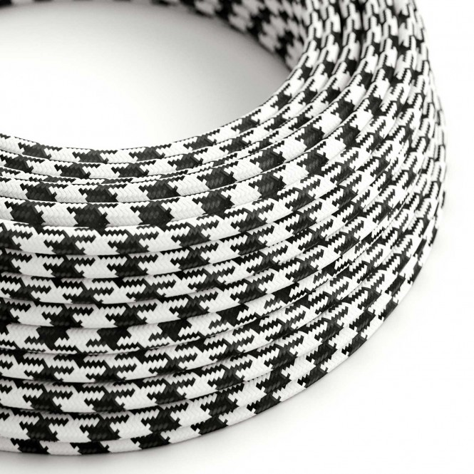 Round Electric Cable covered by Rayon RP04 Black and White Houndstooth