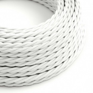 Twisted Electric Cable covered by Rayon solid colour fabric TM01 White