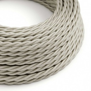 Twisted Electric Cable covered by Rayon solid colour fabric TM00 Ivory