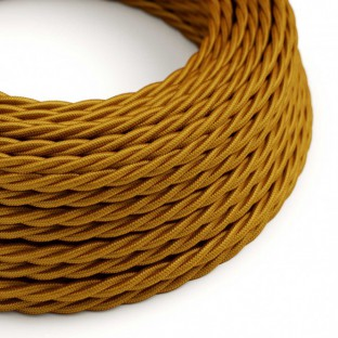 Twisted Electric Cable covered by Rayon solid colour fabric TM05 Gold