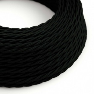 Twisted Electric Cable covered by Rayon solid colour fabric TM04 Black