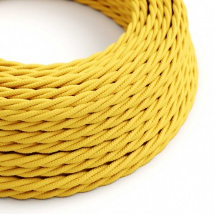 Twisted Electric Cable covered by Rayon solid colour fabric TM10 Yellow