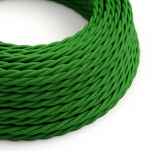 Twisted Electric Cable covered by Rayon solid colour fabric TM06 Green
