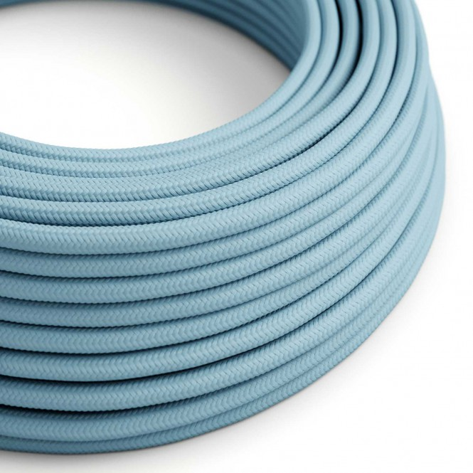 Round Electric Cable covered by Rayon solid colour fabric RM17 Baby Azure