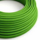 Round Electric Cable covered by Rayon solid colour fabric RM18 Green Lime