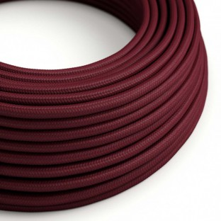 Round Electric Cable covered by Rayon solid colour fabric RM19 Burgundy