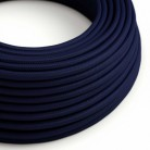 Round Electric Cable covered by Rayon solid colour fabric RM20 Dark Blue