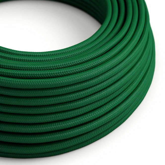 Round Electric Cable covered by Rayon solid colour fabric RM21 Dark Green