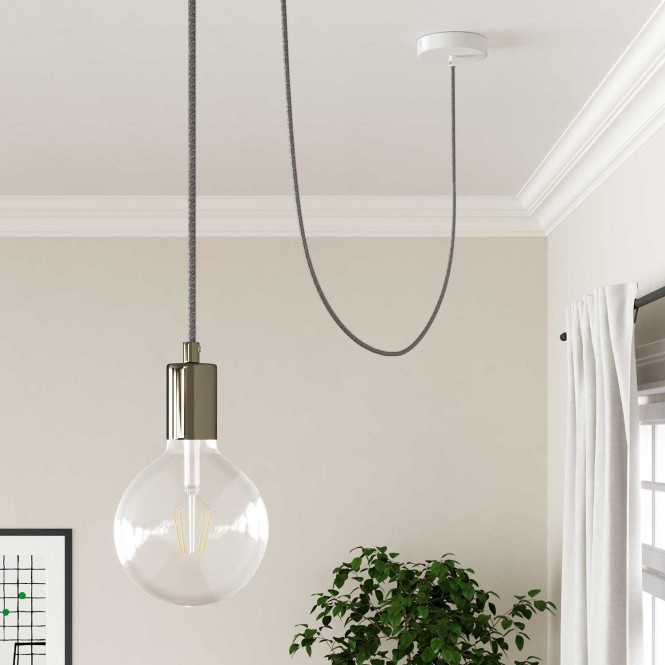 Round Electric Cable covered by Natural Linen RN02 Grey