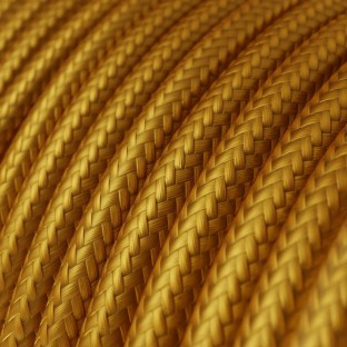 Round Electric Cable covered by Rayon solid colour fabric RM05 Gold